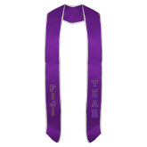 2018 Purple Graduation Stole w/White Trim-FIJI Tackle Twill