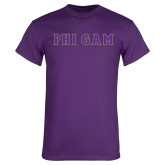Purple T-Shirt-Phi Gam Tackle Twill