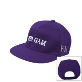 Purple Twill Flat Bill Snapback Hat-Phi Gam