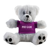 Plush Big Paw 8 1/2 inch White Bear w/Purple Shirt-Phi Gam