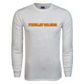 White Long Sleeve T Shirt-Findlay Oilers Word Mark