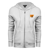 ENZA Ladies White Fleece Full Zip Hoodie-Primary Mark