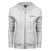 ENZA Ladies White Fleece Full Zip Hoodie-Findlay Oilers Word Mark