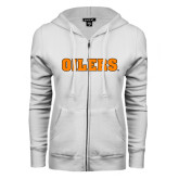 ENZA Ladies White Fleece Full Zip Hoodie-Oilers Word Mark
