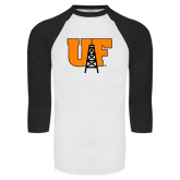 White/Black Raglan Baseball T-Shirt-Primary Mark