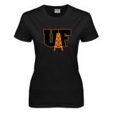 Ladies Black T Shirt-Primary Mark Distressed