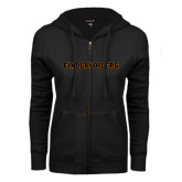 ENZA Ladies Black Fleece Full Zip Hoodie-Findlay Oilers Word Mark