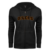 ENZA Ladies Black Fleece Full Zip Hoodie-Oilers Word Mark Arched