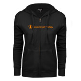 ENZA Ladies Black Fleece Full Zip Hoodie-University of Findlay