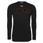 Under Armour Black Long Sleeve Tech Tee-Oilers Word Mark