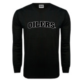 Black Long Sleeve TShirt-Oilers Word Mark Arched