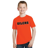 Youth Orange T Shirt-Oilers Word Mark