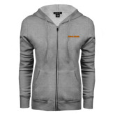 ENZA Ladies Grey Fleece Full Zip Hoodie-Findlay Oilers Word Mark