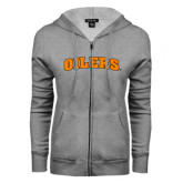 ENZA Ladies Grey Fleece Full Zip Hoodie-Oilers Word Mark Arched