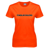 Ladies Orange T Shirt-Findlay Oilers Word Mark