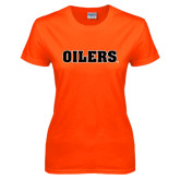 Ladies Orange T Shirt-Oilers Word Mark