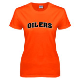 Ladies Orange T Shirt-Oilers Word Mark Arched