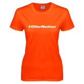 Ladies Orange T Shirt-Oiler Nation Hashtag