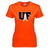 Ladies Orange T Shirt-Primary Mark Distressed