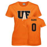 Ladies Orange T Shirt-Primary Mark, Custom Tee w/ Name and #