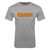 Grey T Shirt-Oilers Word Mark
