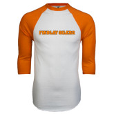 White/Orange Raglan Baseball T Shirt-Findlay Oilers Word Mark