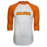 White/Orange Raglan Baseball T Shirt-Oilers Word Mark Arched