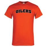 Orange T Shirt-Oilers Word Mark Arched
