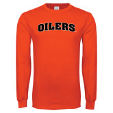 Orange Long Sleeve T Shirt-Oilers Word Mark Arched
