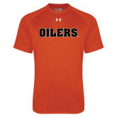 Under Armour Orange Tech Tee-Oilers Word Mark