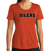 Ladies Syntrel Performance Orange Tee-Oilers Word Mark