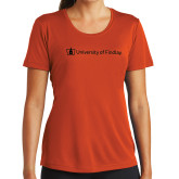 Ladies Syntrel Performance Orange Tee-University of Findlay
