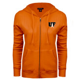 ENZA Ladies Orange Fleece Full Zip Hoodie-Primary Mark
