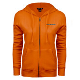 ENZA Ladies Orange Fleece Full Zip Hoodie-Findlay Oilers Word Mark