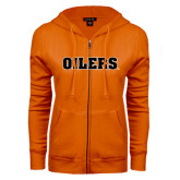 ENZA Ladies Orange Fleece Full Zip Hoodie-Oilers Word Mark