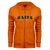 ENZA Ladies Orange Fleece Full Zip Hoodie-Oilers Word Mark Arched