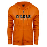 ENZA Ladies Orange Fleece Full Zip Hoodie-Basketball