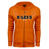 ENZA Ladies Orange Fleece Full Zip Hoodie-Golf