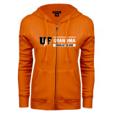ENZA Ladies Orange Fleece Full Zip Hoodie-Grandma