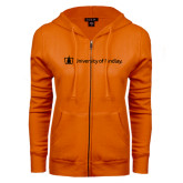 ENZA Ladies Orange Fleece Full Zip Hoodie-University of Findlay