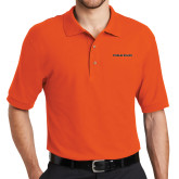 Orange Easycare Pique Polo-Findlay Oilers Word Mark