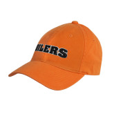 Orange Twill Unstructured Low Profile Hat-Oilers Word Mark