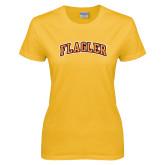 Ladies Gold T Shirt-Flagler Arched