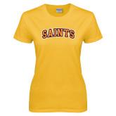 Ladies Gold T Shirt-Saints Arched