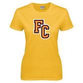 Ladies Gold T Shirt-FC Logo
