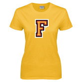 Ladies Gold T Shirt-Letter F Logo