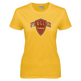 Ladies Gold T Shirt-Primary Mark Distressed