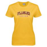Ladies Gold T Shirt-Soccer
