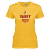 Ladies Gold T Shirt-Basketball Design