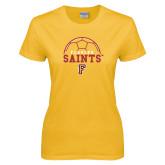 Ladies Gold T Shirt-Soccer Design